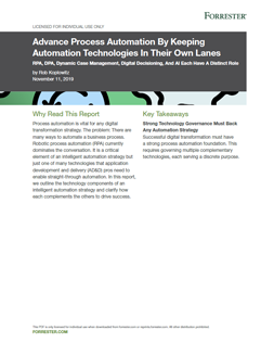 Advance Process Automation By Keeping Automation Technologies In Their Own Lanes