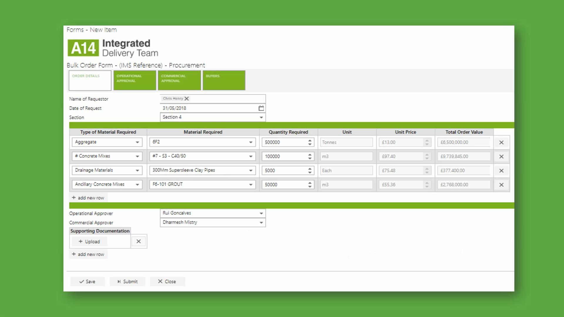 Materials Requisition Screenshot In FlowForma