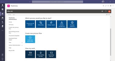 FlowForma Process Automation App For Microsoft Teams - Homepage