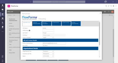 FlowForma Process Automation App For Microsoft Teams - Onboarding Process