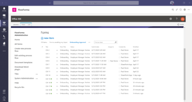 FlowForma Process Automation App For Microsoft Teams - Form List