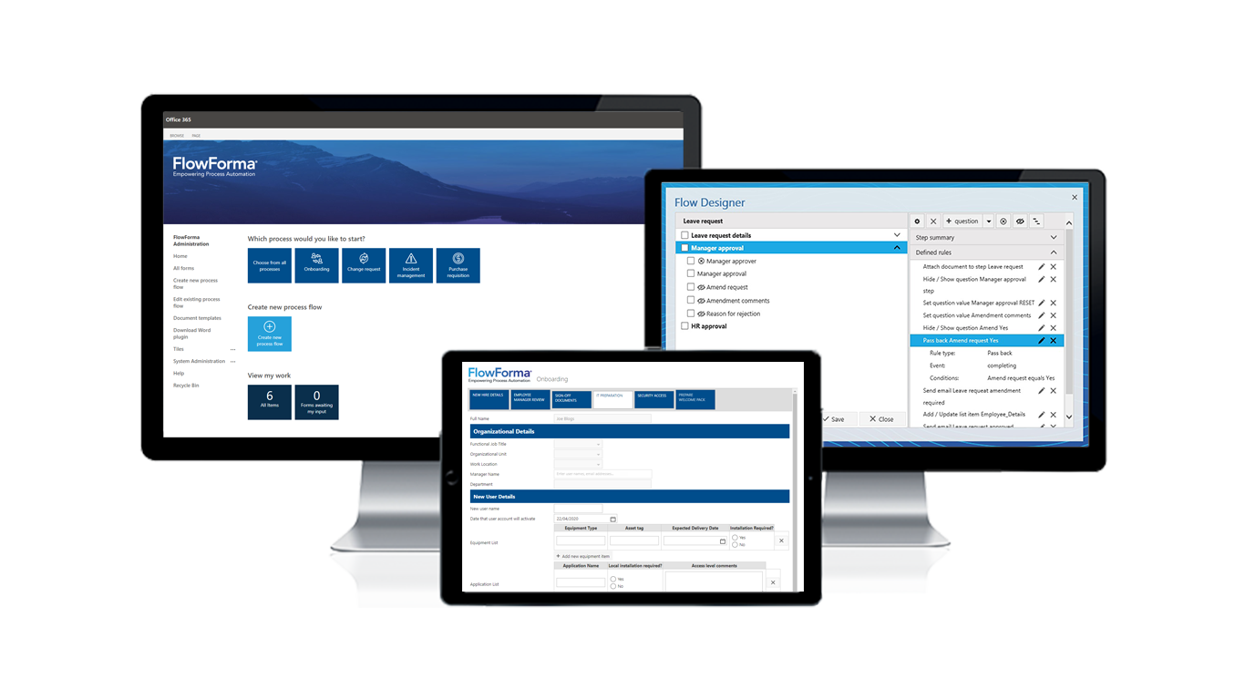 FlowForma digital process automation solution revolutionizes BPM tools space - three devices display their dashboard