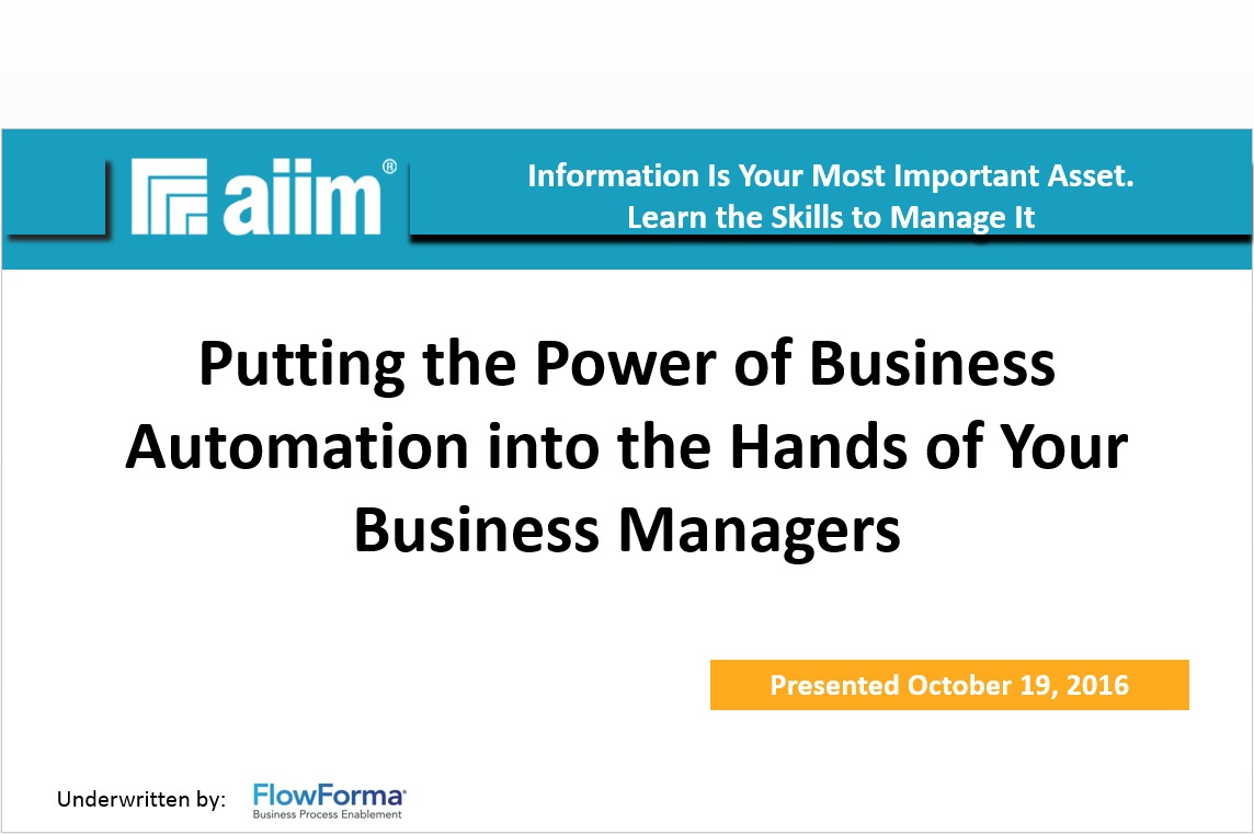 'Business Process Automation' AIIM Webinar Reflection
