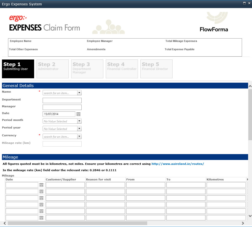 FlowForma Expenses Screenshot